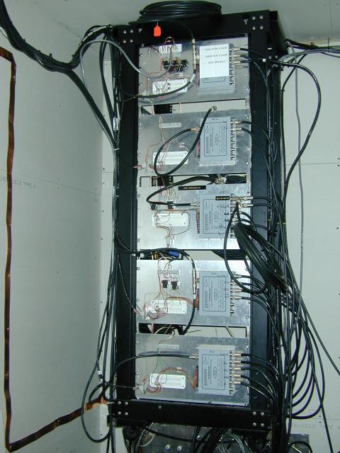 Antenna rf switching rack in garage with bulkhead panel